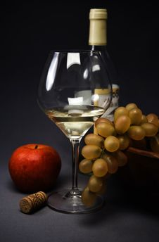 Free Still-life With Fruit And Wine Glass Royalty Free Stock Image - 14649066