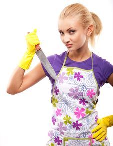 Free Housewife And Knife Stock Images - 14649844