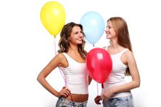 Free Girlfriends And Balloons Royalty Free Stock Photo - 14649965