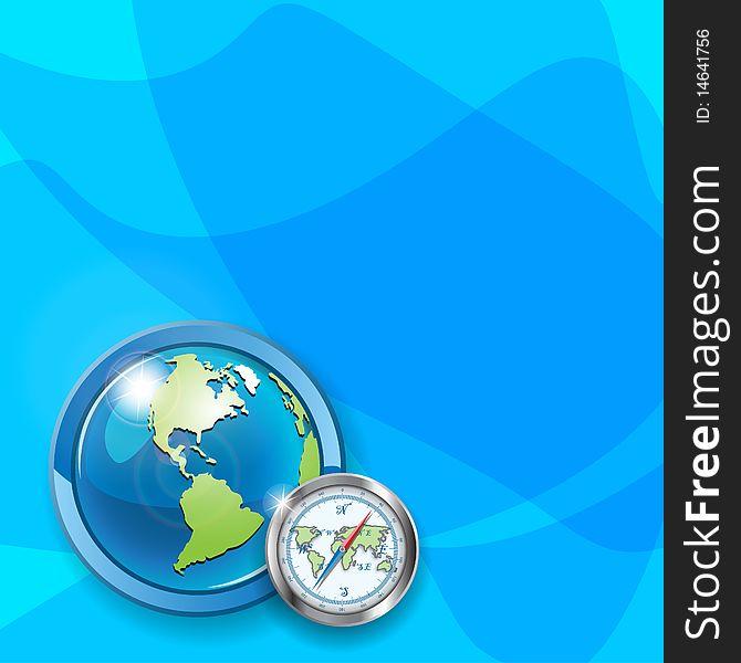 Globe and compass