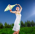 Free Girl In White Dress With Kerchief Royalty Free Stock Photo - 14655675