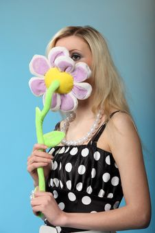Free Girl With A Toy Flower Stock Photo - 14650300