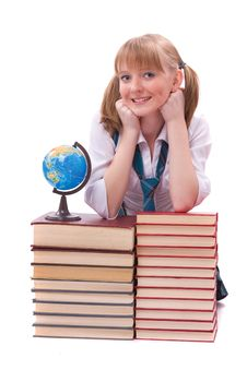 Free Schoolgirl With The Stack Of Book And Globe Stock Photography - 14650302