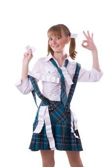 High School Girl Is Hiding Crib Sheet In Uniform. Royalty Free Stock Photo