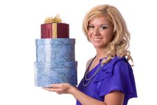 Free Woman With Gift Stock Photo - 14650350