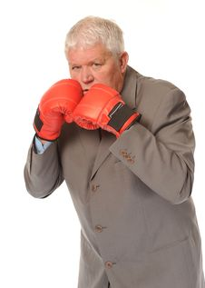 Free Successful Mature Businessman Boxing Stock Image - 14651381