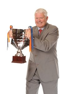 Free Successful Mature Businessman Holding Trophy Royalty Free Stock Photo - 14651465