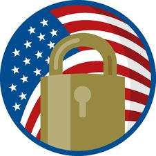 Free Padlock With American Flag Royalty Free Stock Image - 14653526