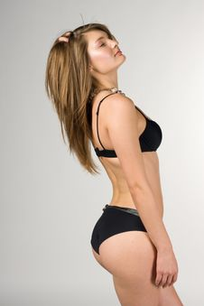 Free Sexy Girl In A Black Swimsuit Royalty Free Stock Photos - 14655008