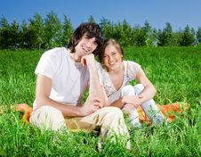 Free Girl And Boy On Grass Royalty Free Stock Photo - 14655335