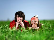 Free Girl In Kerchief And Boy On Grass Royalty Free Stock Image - 14655506