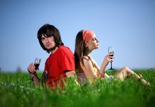 Free Girl In Kerchief And Boy With Wineglasses On Grass Royalty Free Stock Images - 14655589