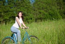 Free Woman With Old-fashioned Bike In Meadow Stock Photo - 14656230