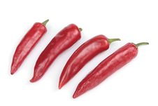 Free Red Chilli Peppers Over White Background Royalty Free Stock Photo - 14656315
