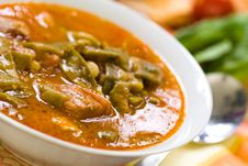 Fresh Cooked Stew With Green Beans And Roast Ham Stock Photo