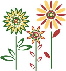 Free Abstract Vector Flowers Royalty Free Stock Photos - 14658008