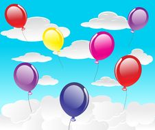 Free Vector Background With Balloons Royalty Free Stock Image - 14658366
