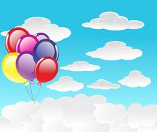 Free Vector Background With Balloons Royalty Free Stock Images - 14658369