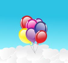 Free Vector Background With Balloons Stock Photography - 14658372