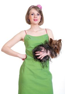 Beauty Young Woman In Green Dress With Dog Stock Photos