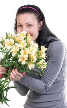 Happy Beauty Woman With Yellow Flowers Royalty Free Stock Image