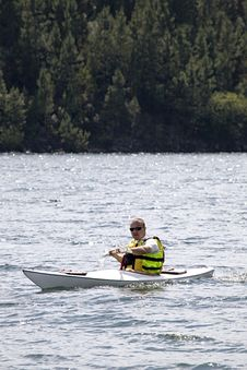 Middle Age Man Kayaking Stock Photo
