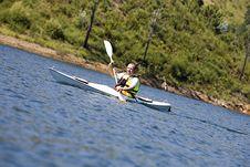 Middle Age Man Kayaking Stock Images