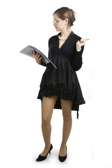 Teacher Or Businesswoman A Black Dress. Stock Photography