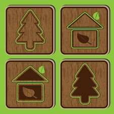 Wooden Buttons With Ecological Icons Of A Tree An Stock Image