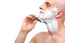 Man Shaving With A Razorblade Stock Photos