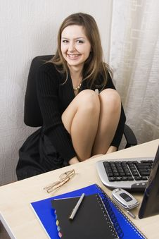 Secretary Or Businesswoman A Black Dress. Stock Photos