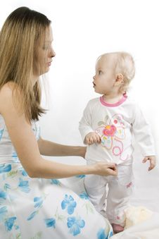 Free Careful Mother Dresses The Daughter Stock Photography - 14661702