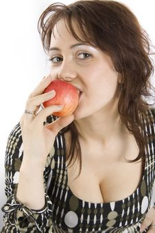 Free Woman Eats An Apple Royalty Free Stock Image - 14662976