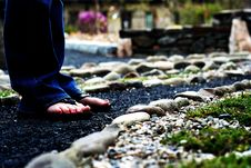 Free Feet On A Stone Path Royalty Free Stock Image - 14663126