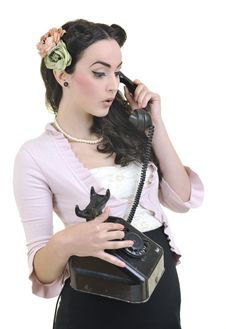 Free Pretty Girl Talking On Old Phone Stock Image - 14664821