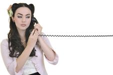 Pretty Girl Talking On Old Phone Stock Photography