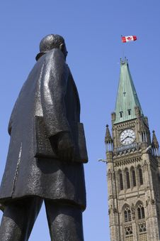 Statue Of John Diefenbaker At Parliament Hill Royalty Free Stock Photo
