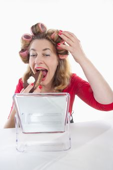 Free Woman With Hair Rollers Stock Photography - 14666482