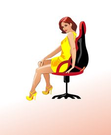Free Young Girl In A Chair Royalty Free Stock Photography - 14666767