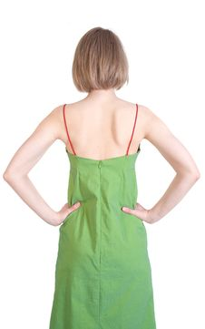 Free Backside Of A Young Woman In Green Dress Stock Image - 14667151