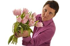 Man Giving Flower Royalty Free Stock Images