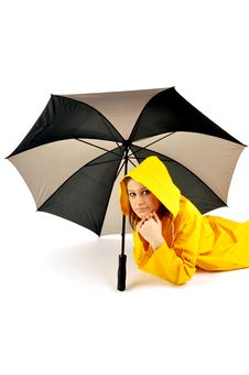 Free Pretty Woman Lying Under Umbrella Stock Photography - 14667332