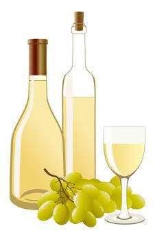 Free Bottle And Glass With White Wine And Grapes Royalty Free Stock Images - 14667359