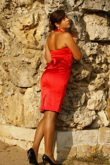 Free The Girl In A Red Dress Royalty Free Stock Images - 14669239