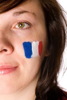 Free French Fan, Half Face Portrait With Flag On Cheek Royalty Free Stock Photography - 14669917