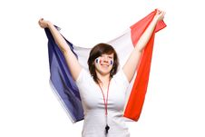 French Team Supporter With Big Flag, Isolated Royalty Free Stock Image