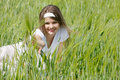 Free Young Girl In Green Grass Royalty Free Stock Image - 14676306