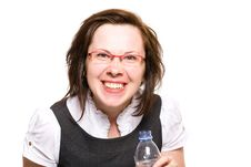 Young Happy Female Holds Bottle Of Water, Isolated Stock Image