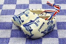 Delft Blue Ceramic Wooden Shoes Royalty Free Stock Photography