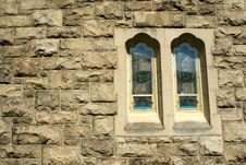 Free Stone Wall With Stained Glass Windows Stock Photo - 14671380